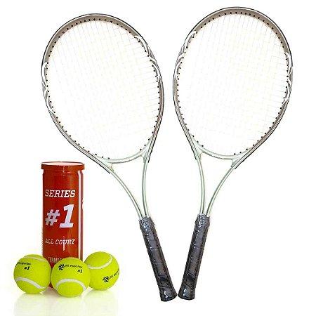 Kit 2 Raquetes Tênis e Tubo c/ 3 Bolas Premium AX Esportes