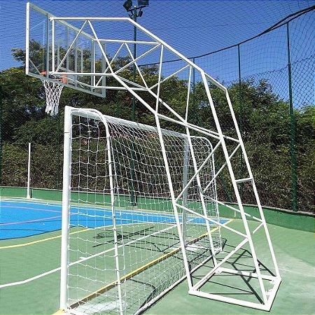 Estrutura de Basquete Modelo Ibirapuera com Aro Flex Rede e Vidro Temperado M996 -E (Par)