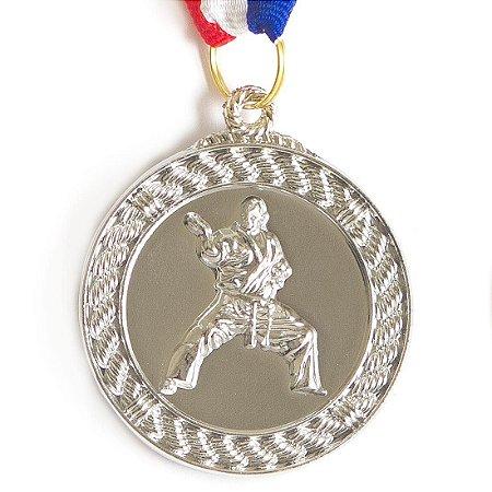 Medalha AX Esportes 50mm A. Marciais Alto Relevo Prateada - Y229P