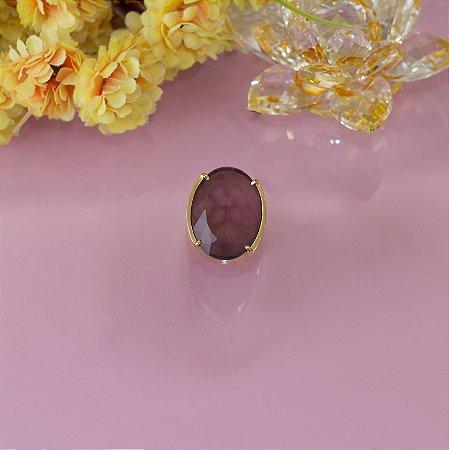 Anel dourado com cristal marsala
