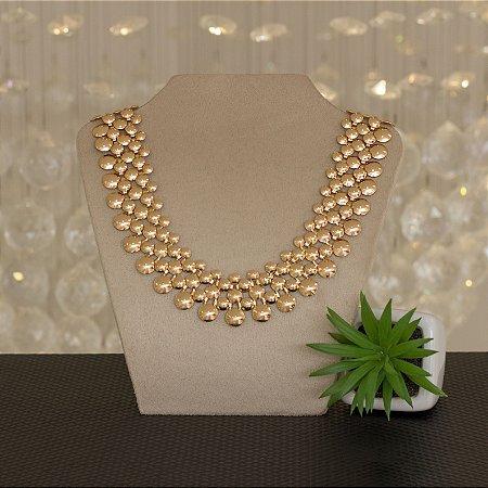 Maxi colar dourado metálico