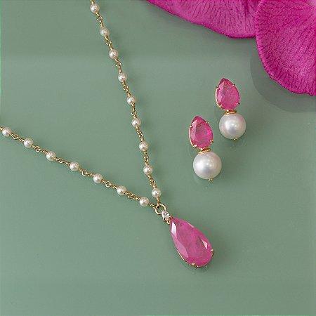 Colar dourado de pérola com gota de cristal rosa