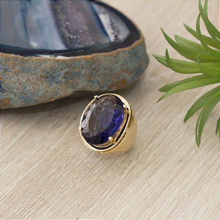 Anel dourado com cristal safira azul  (17)