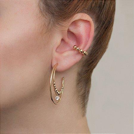 Piercing fake dourado com esferas metálicas