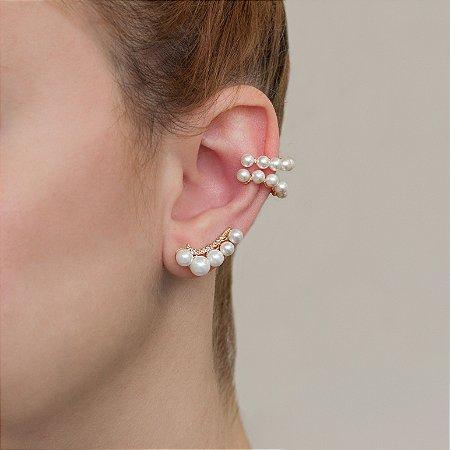 Piercing fake dourado com perolas e cravação em zircônia