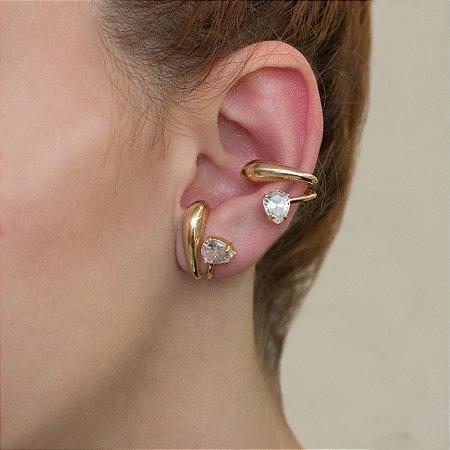 Piercing fake de encaixe dourado com cristal transparente