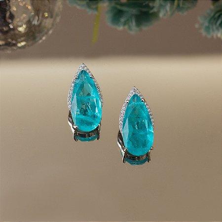 Brinco ródio branco com  zircônias e cristal topázio azul