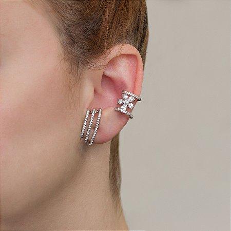 Brinco ear hook ródio branco com cravação em micro zircônias