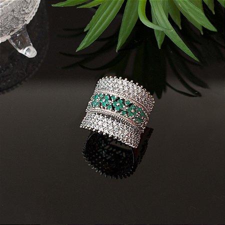 Anel ródio branco com cravações e cristal neo mint