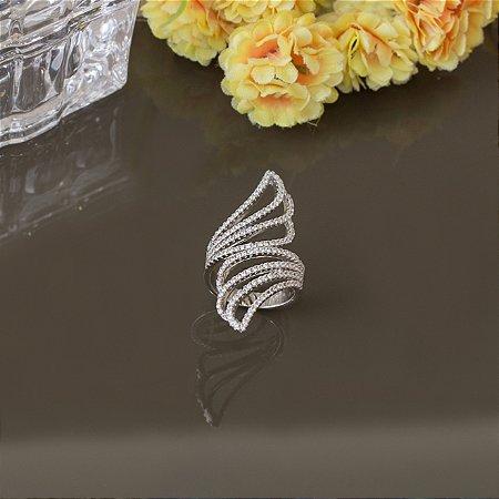 Anel ródio branco com cravação em micro zircônias