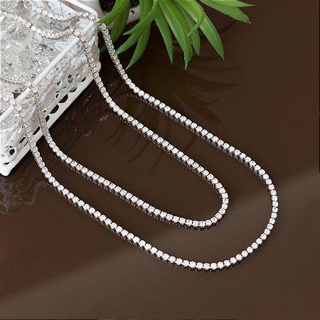 Choker riviera com cravação em zircônias e banho em ródio branco