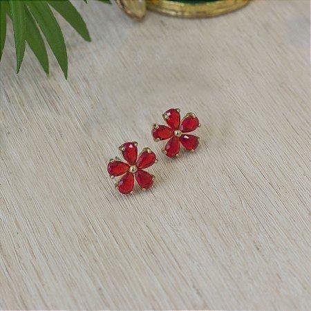 Brinco floral com cristais rubi
