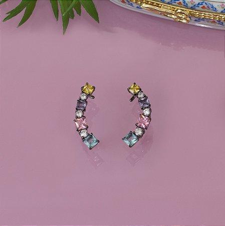 Brinco ear cuff ródio black com cristais coloridos