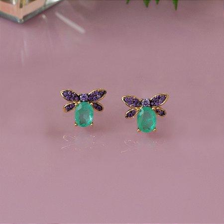 Brinco borboleta cravejado com ametista e cristal quartzo verde