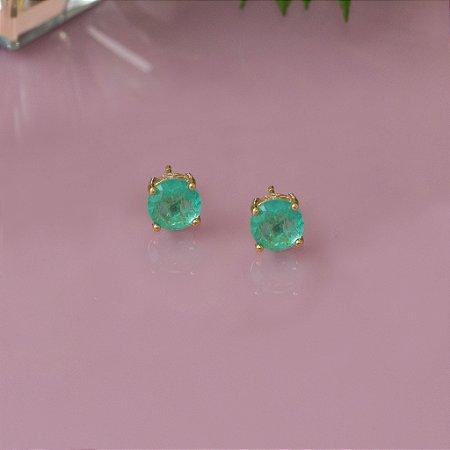Brinco dourado com cristal quartzo verde