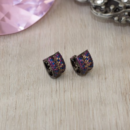Argolinha ródio negro cravejada com cristais coloridos