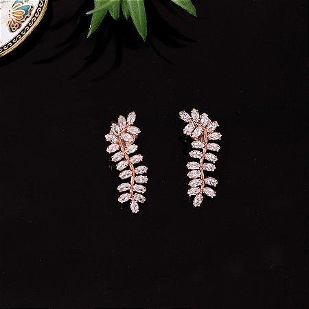Brinco ear cuff rose floral com cristais