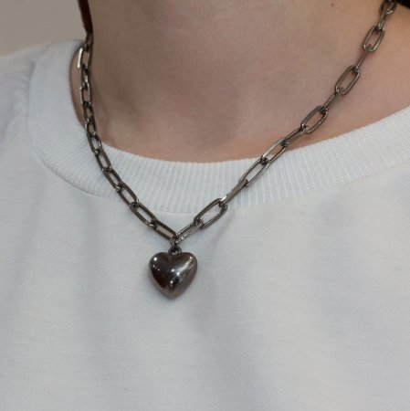 Colar ródio negro elos com pingente de coração