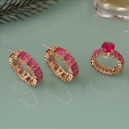 Anel dourado com cristais quartzo rosa
