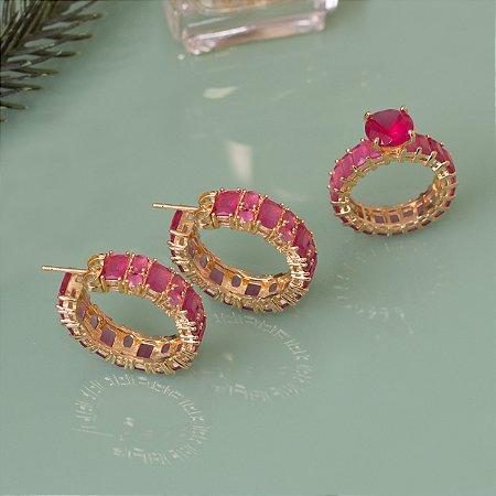 Argola dourada com cristais quartzo rosa