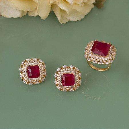 Anel cravejado com zircônias e cristal rubi