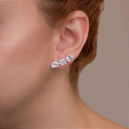 Brinco ear cuff em ródio branco com cristais