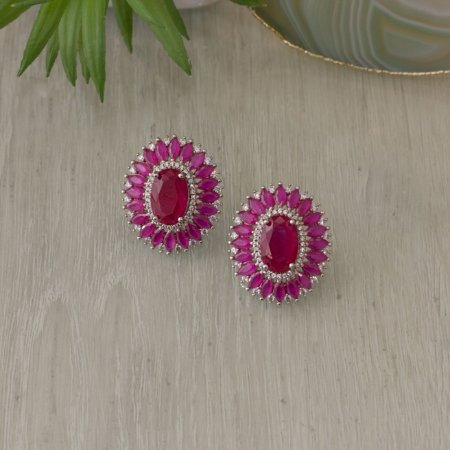 Brinco ródio branco com cristal rubi e navetes quartzo rosa