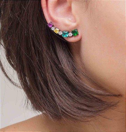 Brinco ear cuff em ródio black com cristais coloridos