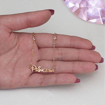 Colar infantil dourado escrito princesa com ponto de luz