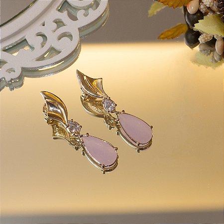 Brinco dourado cristal quartzo rosa fusion