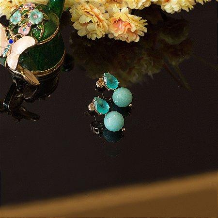 O brinco de gota cristal turmalina fusion e bolinha azul