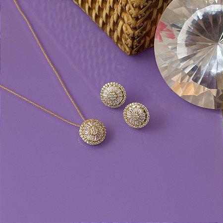 Conjunto colar e brinco com zircônias e navetes cristais