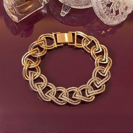 Pulseira dourada de elos cravejados zircônias cristais