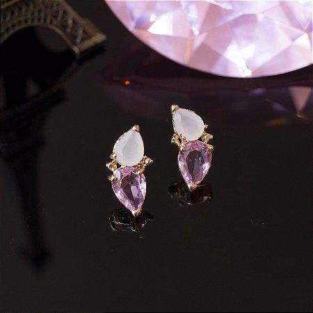 Brinco dourado com gotinhas de cristal quartzo rosa