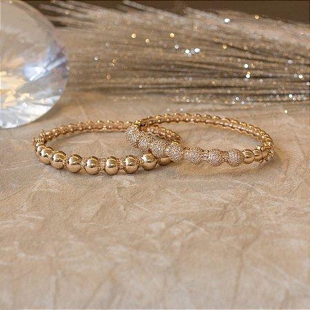 Duo bracelete dourado cravejado com zircônias e navetes cristais