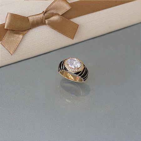 Anel esmaltado com cristal e cravação em zircônia