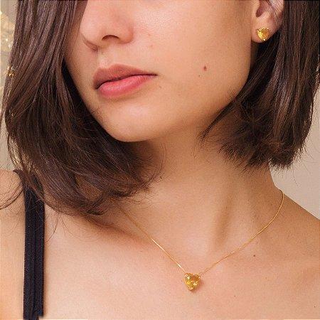 Conjunto dourado de coração com cristal amarelo citrino