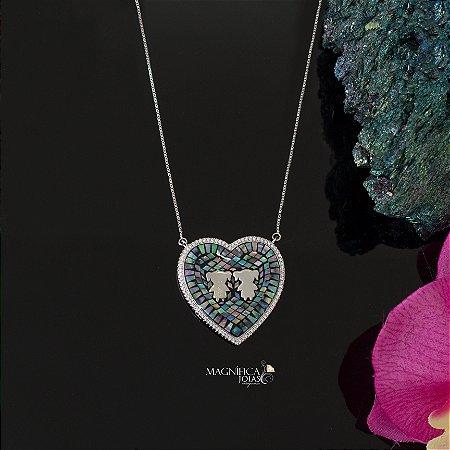 Colar de coração pedra abalone ródio branco duas meninas