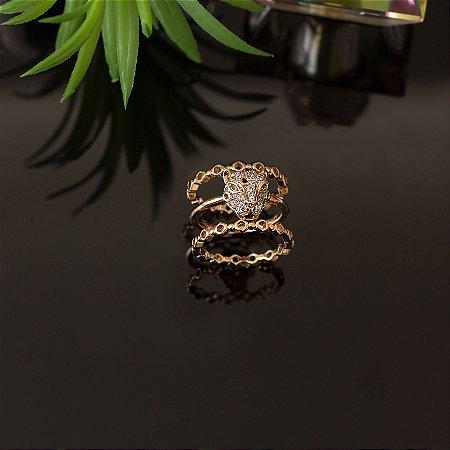 Trio de anéis de tigre cravejado em zircônias cristais
