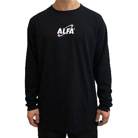 Camiseta Manga Longa Alfa New Age Preta