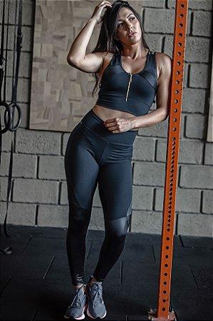 Conjunto Fitness Cintura Alta Top Fecho Strappy