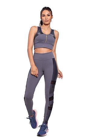 Conjunto Fitness Cintura Alta Recortes Geo