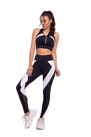 Conjunto Fitness Cintura Alta Black and White