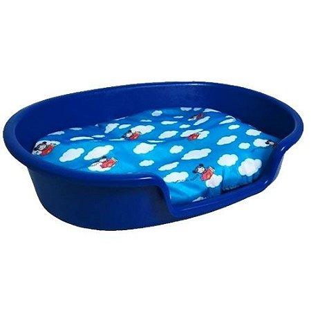 Caminha De Plástico Para Cachorro Com Almofada -Azul-Grande