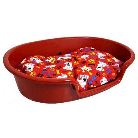 Caminha de Plástico para Cachorro com Almofada -Vermelho-Pequena