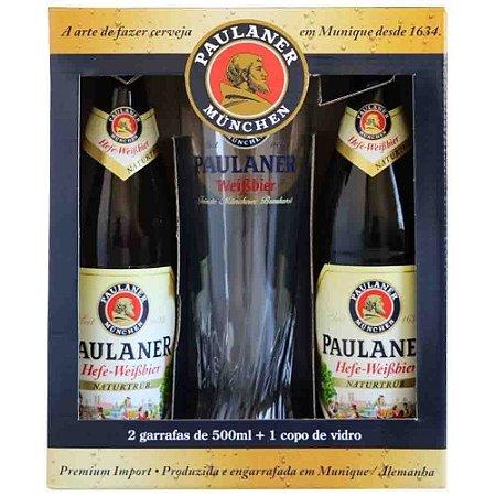 Kit Cerveja Alemã Paulaner 2 Garrafas 500 ml + 1 Copo Vidro