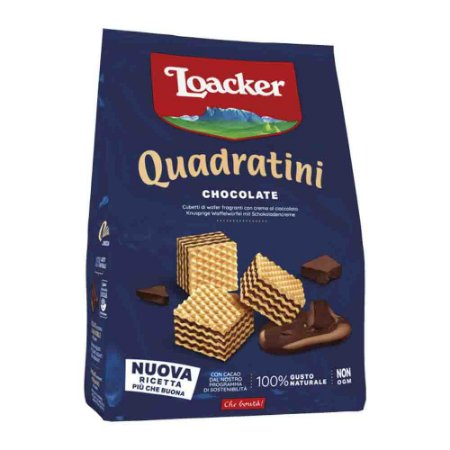 Biscoito Waffer Loacker Quadratini Chocolate Kakao 125g