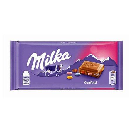 Milka Confetti Chocolate Ao Leite Recheado Com Confetes 100g