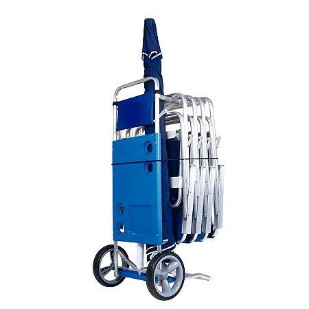 Carrinho De Praia Suporta 5 Cadeiras Aluminio - Mor