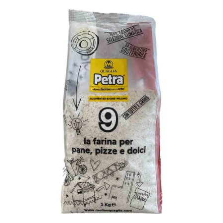 Farinha Italiana Quaglia Petra 9 Integral Moida na Pedra 1Kg